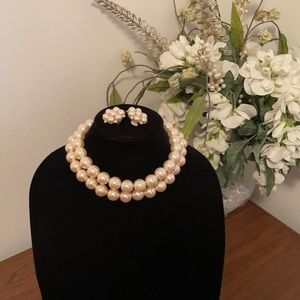 Vintage Chunky Pearl Choker and Clip Earrings